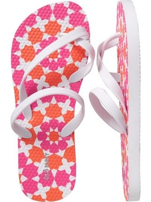 Pink and orange flip-flips from Old Navy.