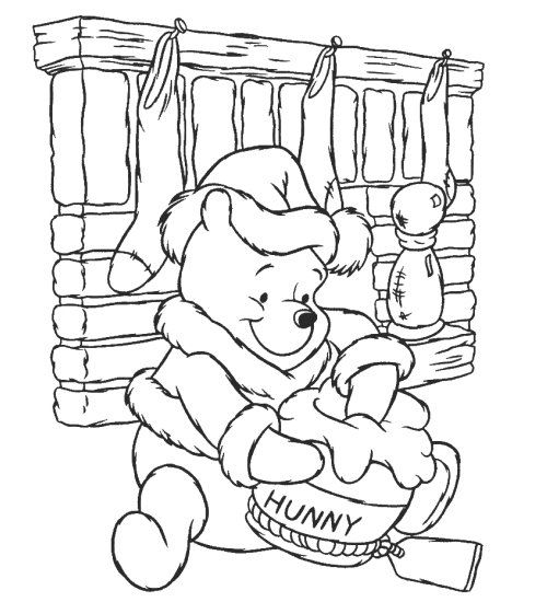 Winnie The Pooh Colouring Pages For Children Christmas