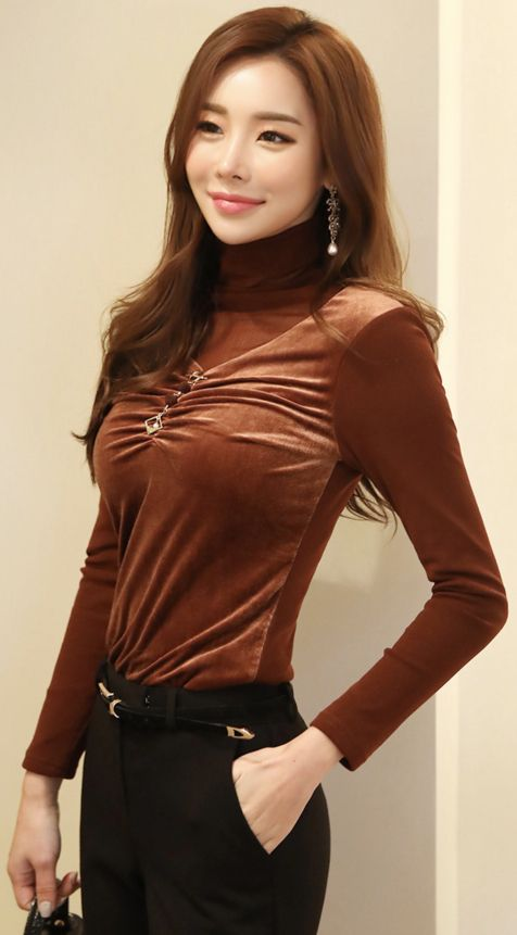 StyleOnme_See-through High Neck Velvet Blouse Tee #feminine #velvet #blouse #koreanfashion #kstyle #kfashion #dailylook #wintertrend