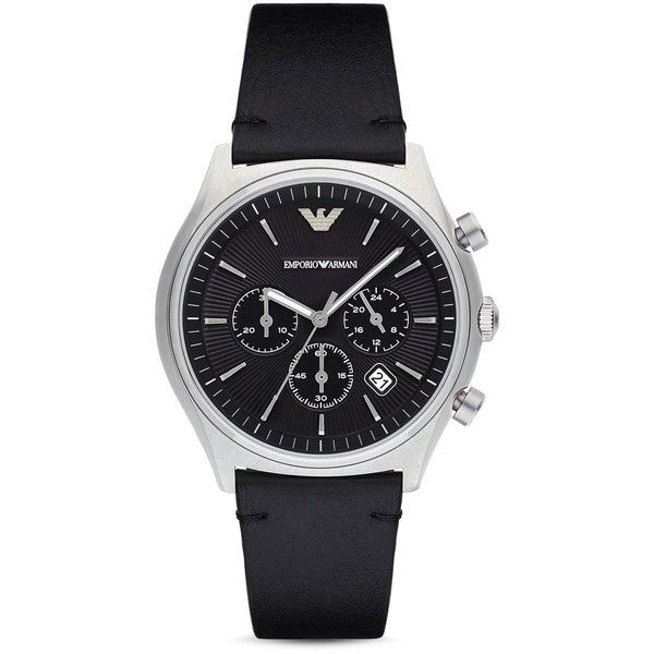 Emporio Armani Chronograph Leather Strap Watch, 43mm (292,370 KRW) ❤ liked on Polyvore featuring men's fashion, men's jewelry, men's watches, black, emporio armani mens watches, mens stainless steel watches, mens leather strap watches and mens chronograph watches