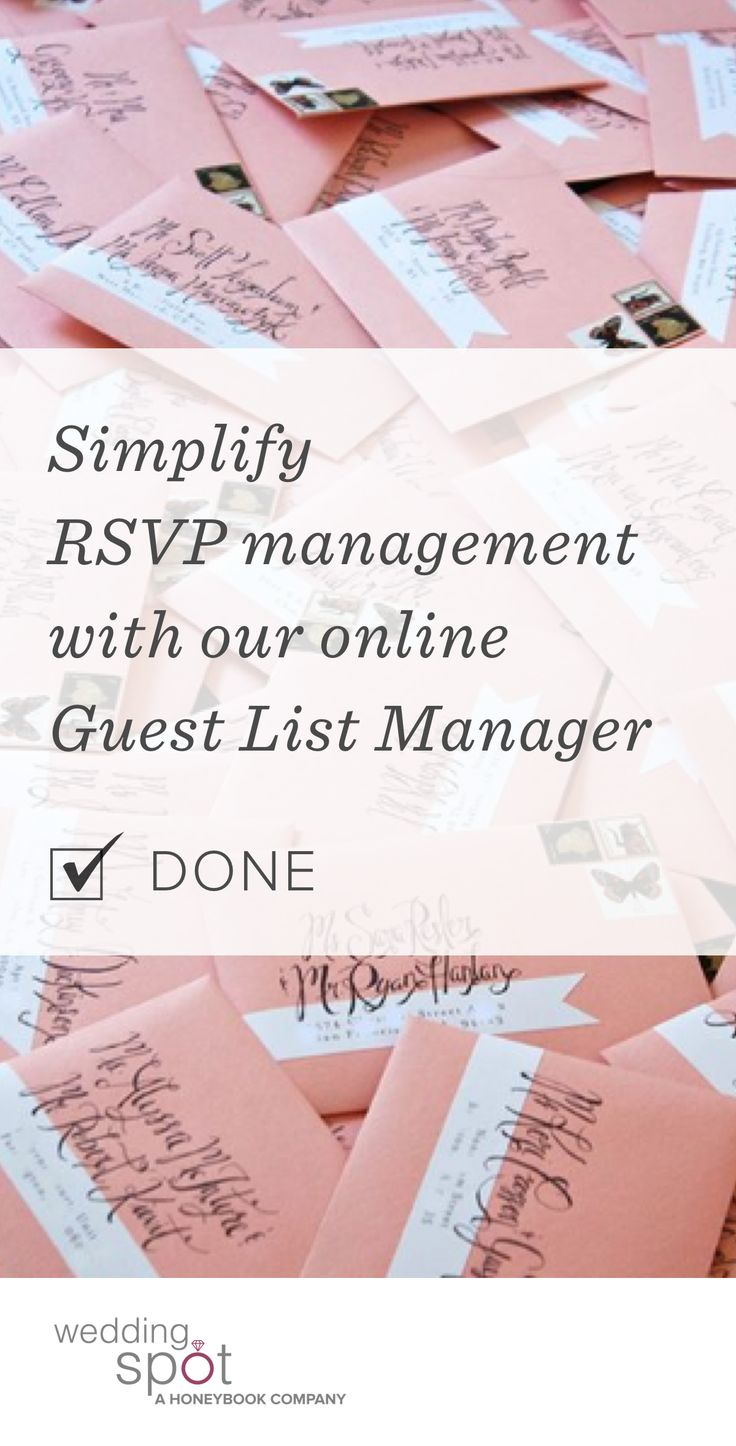 Don't rely on standard mail for your special day. Seamlessly track and organize your RSVPs with Wedding Spot's free, online Guest List Manager.