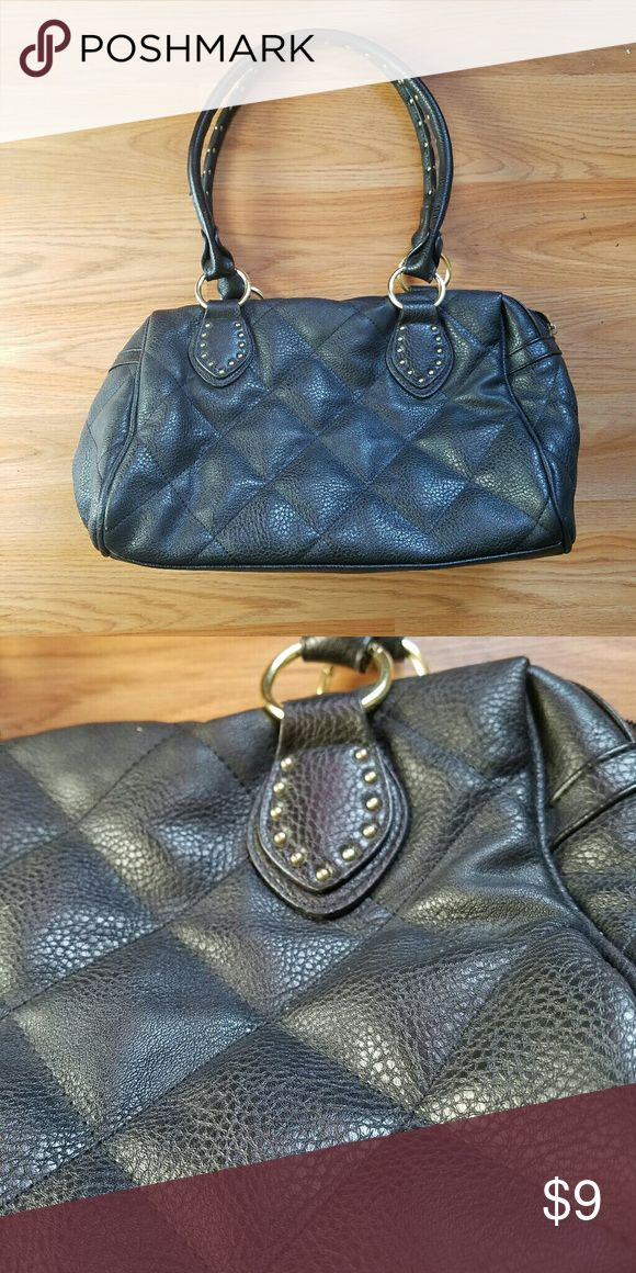 Black Purse with gold detailing Cute medium sized bag, quilted detail Claire's Bags Shoulder Bags