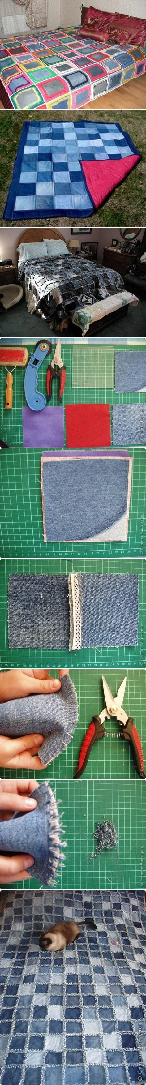 DIY Sew Denim Bedspread