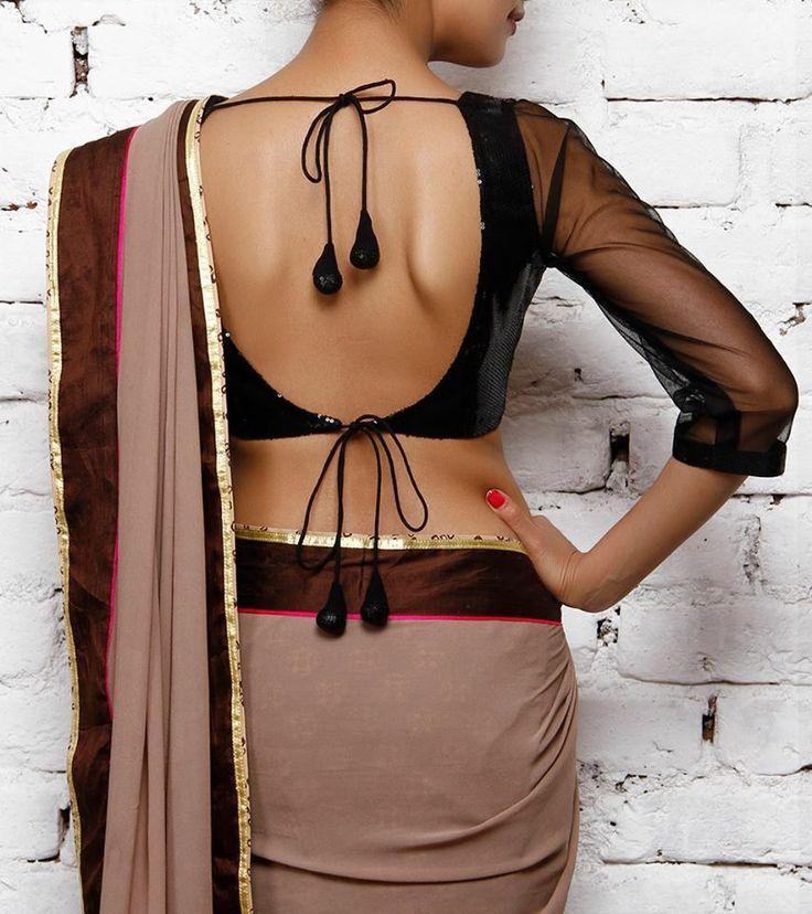 Black & earth toned #saree #sari #blouse #indian #outfit #shaadi #bridal #fashion #style #desi #designer #wedding #gorgeous #beautiful