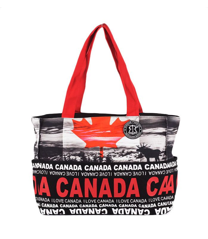 Canvas Fashion Tote Bag Canada Logo 150 Yr Anniversary Promotion Red White Purse