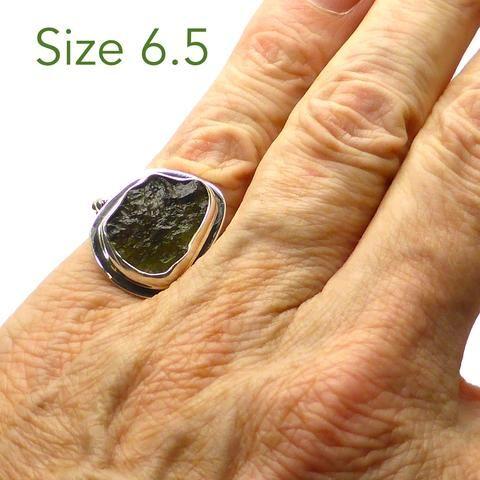 Raw Natural Moldavite Ring | 925 Sterling Silver | US Size 5 | Genuine Moldau Valley Material | Tektite | Scorpio Stone | Crystal Heart Australia since 1986