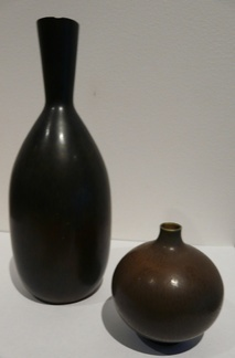 Carl-Harry Stålhane & Berndt Friberg  Carl-Harry Stålhane for Rörstrand is the larger vase. It is 15.5 cm tall = 6.1 ins. It is marked with the R and three crowns, CHS and the model code SOT. The glaze is a matt black/brown combination.    The smaller vase is marked with incised G for Gutavsberg, a hand and Friberg. The glaze is a brown haresfur that blends to a cobalt blue at the base. The hand mark signifies a studio piece. It is a real miniature .... only 5.75 cm high = 2.3 ins.