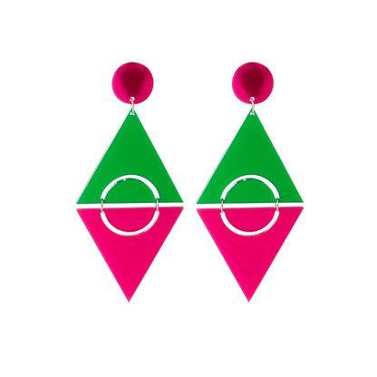 Raspberry Taste pop art geometric clip on earrings