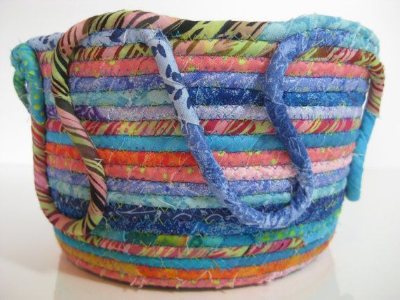Funky Coiled Rope  Easter Basket  Bowl  Scrappy by SallyManke, $38.00