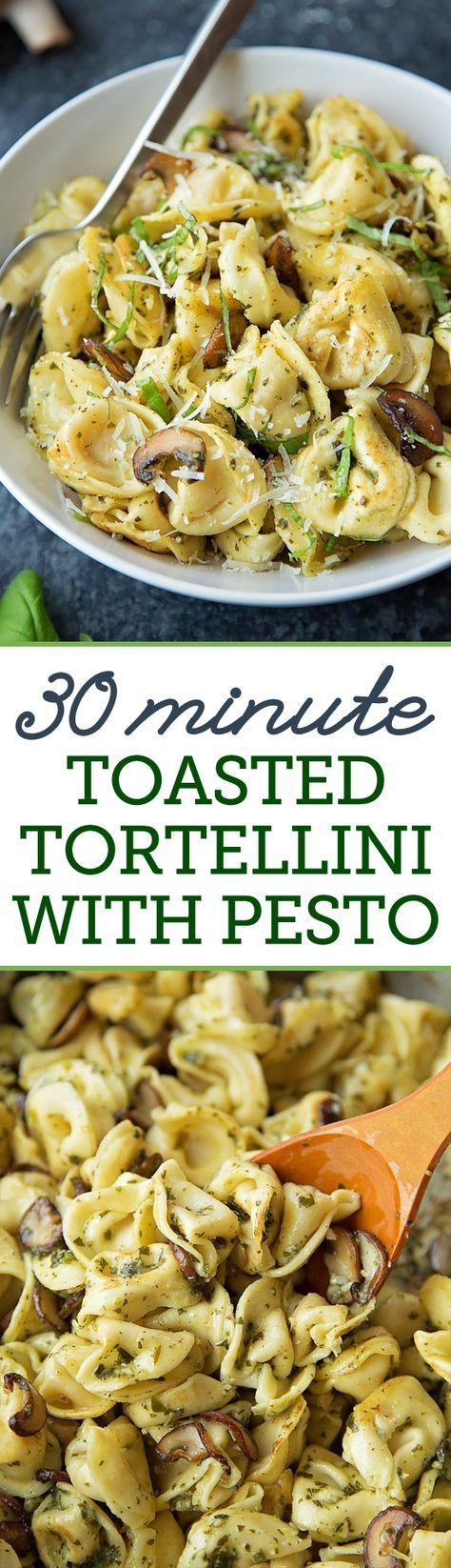 Get dinner on the table in no time with this 30 minute toasted tortellini with pesto. It only requires 8 simple ingredients! #Buitoni #CloserToDinner @BuitoniUSA