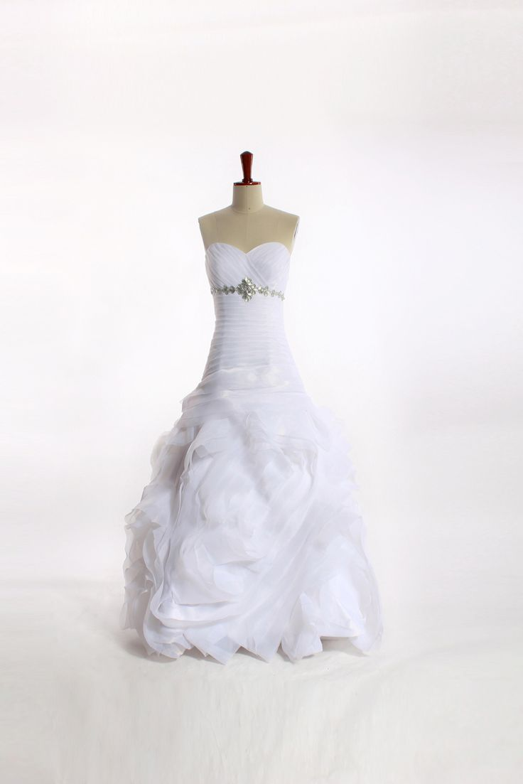 < $500 fall in romantic sweetheart Strapless Organza bridal gown with empire waist