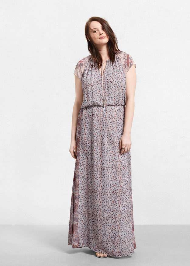 Vestidos de noche para gorditas: fotos de los modelos - Maxi vestido estampado Violeta By Mango