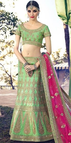 Angelic Green And Pink Silk Designer Lehenga Choli With Dupatta.
