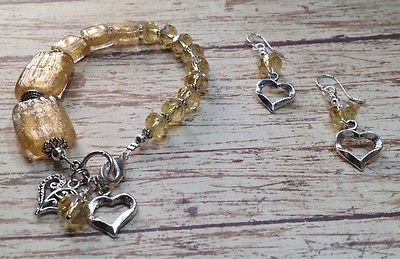 Gold Glass And Crystal Bracelet And Earrings