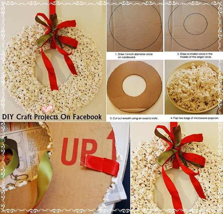 Popcorn Wreath   I like it.  I could put it on the tree outside and watch the birds.