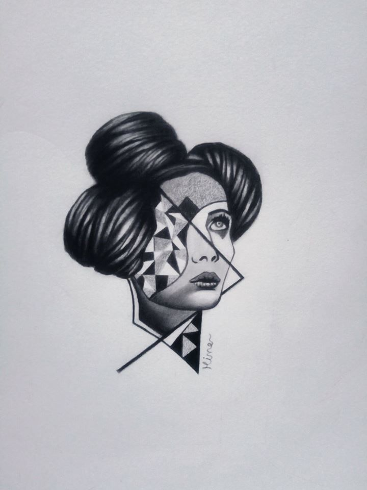 surreal head, black and white, surreal tattoo design