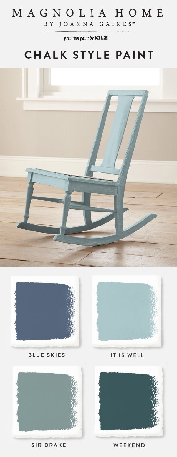 There's nothing better than a pop of blue in the interior design of your home. Explore these blue Chalk Style Paint shades from the Magnolia Home by Joanna Gaines™ Paint collection. You'll love the timeless hue of paint colors like Blue Skies, It Is Well, Sir Drake, and Weekend.