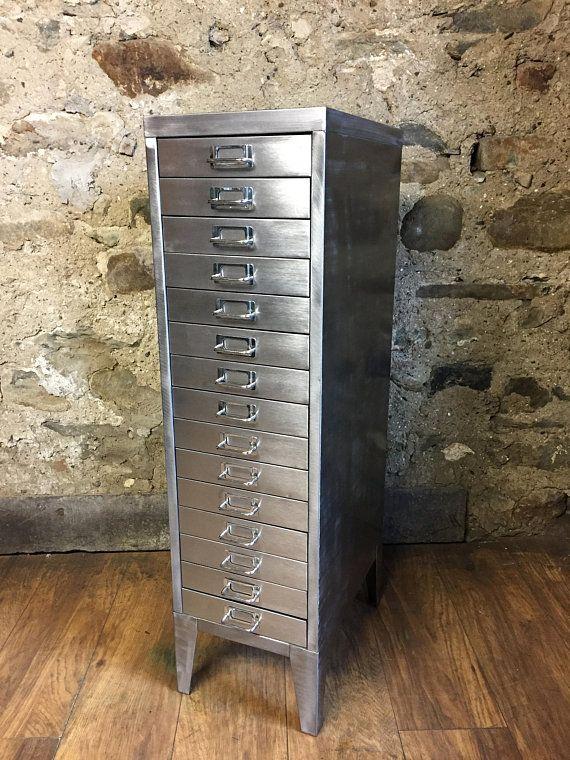 Vintage Industrial Stripped Metal 15 Drawer Filing Cabinet Vintage Industrial Furniture Industrial Cabinet Locker Storage