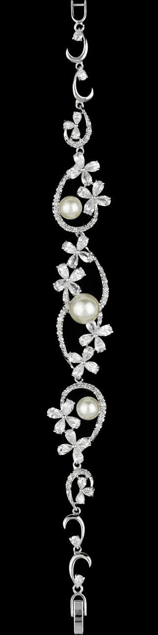 Elegant Ivory Pearl and CZ Floral Wedding Bracelet - Affordable Elegance Bridal -