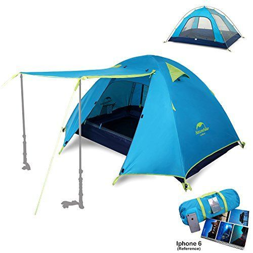 Topnaca 2-4 Person 3 Season Backpacking Tent Waterproof Awning Design Two Doors Double Layer with Aluminum Rods for Outdoor Camping Family Beach Hunting Hiking Travel (Azure, 4 Person) ** Find out more at the image link. #CampingTents