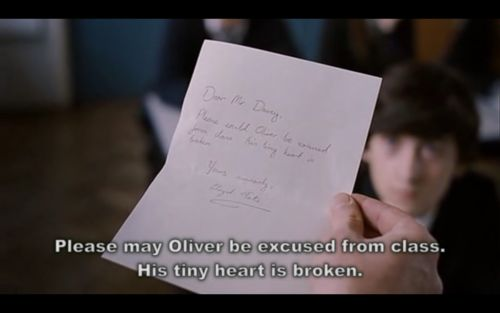"""""""Please may Oliver be excused from class. His tiny heart is broken. (Submarine)"""