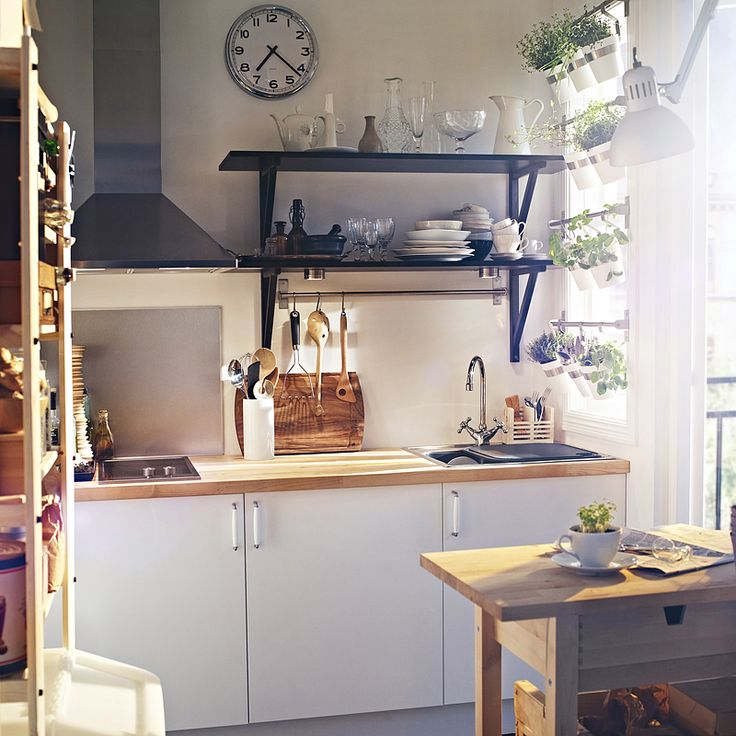 Ikea applad cabinets with black open shelving and herb for Etagere murale de cuisine ikea