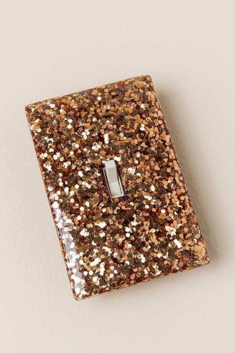 Rose Gold Glitter Light Switch Plate-  gift-cl