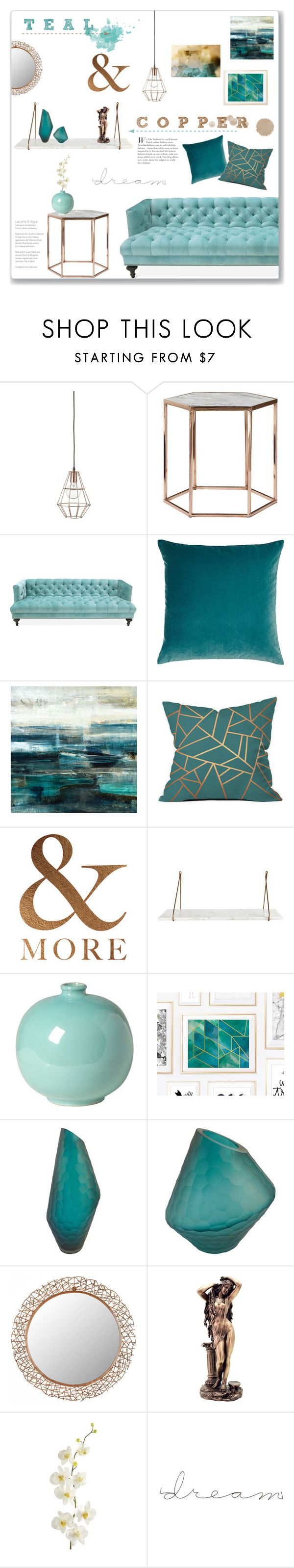 """Teal & Copper: Living Room"" by lauren-a-j-reid ❤ liked on Polyvore featuring interior, interiors, interior design, home, home decor, interior decorating, Bloomingville, Jonathan Adler, Legacy Home and Leftbank Art"