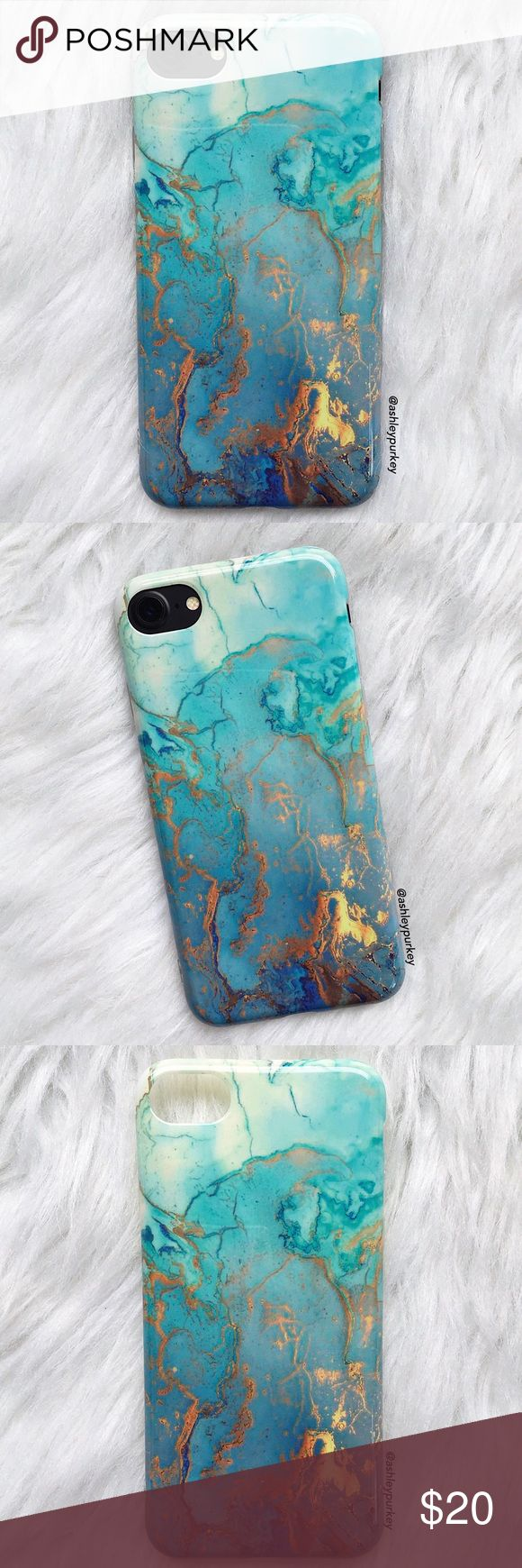 "❤️SALE❤️ blue gold swirled marble iPhone 7 case •iPhone 7 (4.7"")  •flexible silicone   •phone not included   •no trades    *please make sure you purchase the correct size case. i am not responsible if you purchase the wrong size  item #: 80 B-Long Boutique  Accessories Phone Cases"