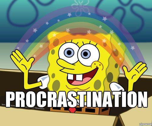 SpongeBob Squarepants Procrastination Rainbow Meme