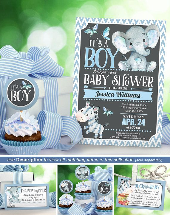 Boy Elephant Baby Shower Invitation, Zebra Baby Shower Invite printable INSTANT DOWNLOAD digital file - 02a inspiration