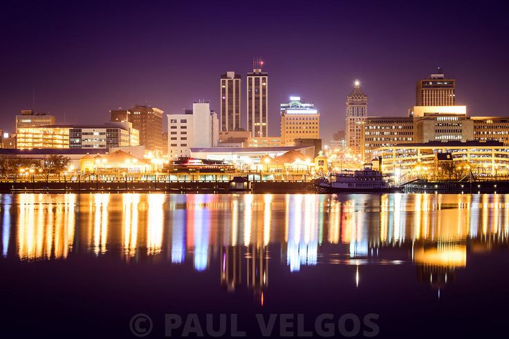 Peoria Illinois at Night Downtown Skyline