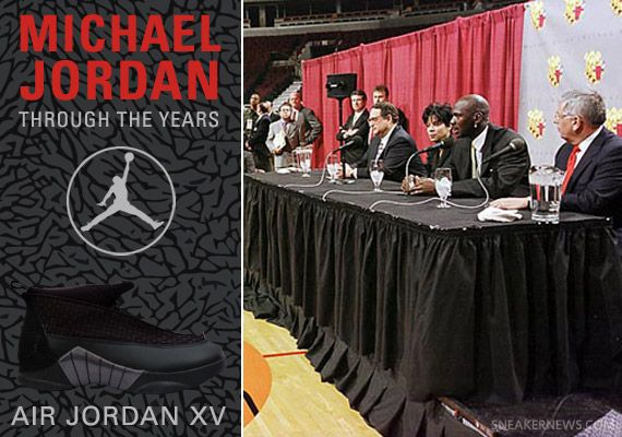 Michael Jordan Through The Years are historical photos of Michael Jordan throughout the years wearing all sorts of original Air Jordans and Nikes while making history in the NBA and elsewhere.