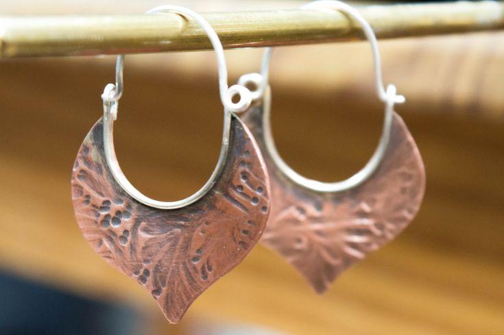Hoop earrings, Basket earrings, Boho earrings, Copper rustic earrings,Copper earrings,Mixed metal earrings,Rustic earrings,Silver and copper