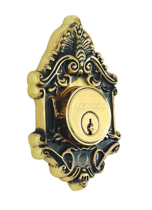 Nostalgic Warehouse VIC60 Single Cylinder Deadbolt from the Victorian Collection Antique Brass Deadbolt Keyed Entry Single Cylinder