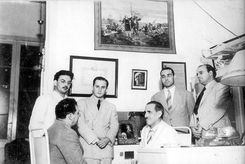 "Emilio ""Millo"" Ochoa (third from left) meeting with Ramon Grau (seated, middle) and other Autentico Party leaders. (Latin American Studies.org collection). For information about Cuban History of this period please visit Cuba 1952-1959"