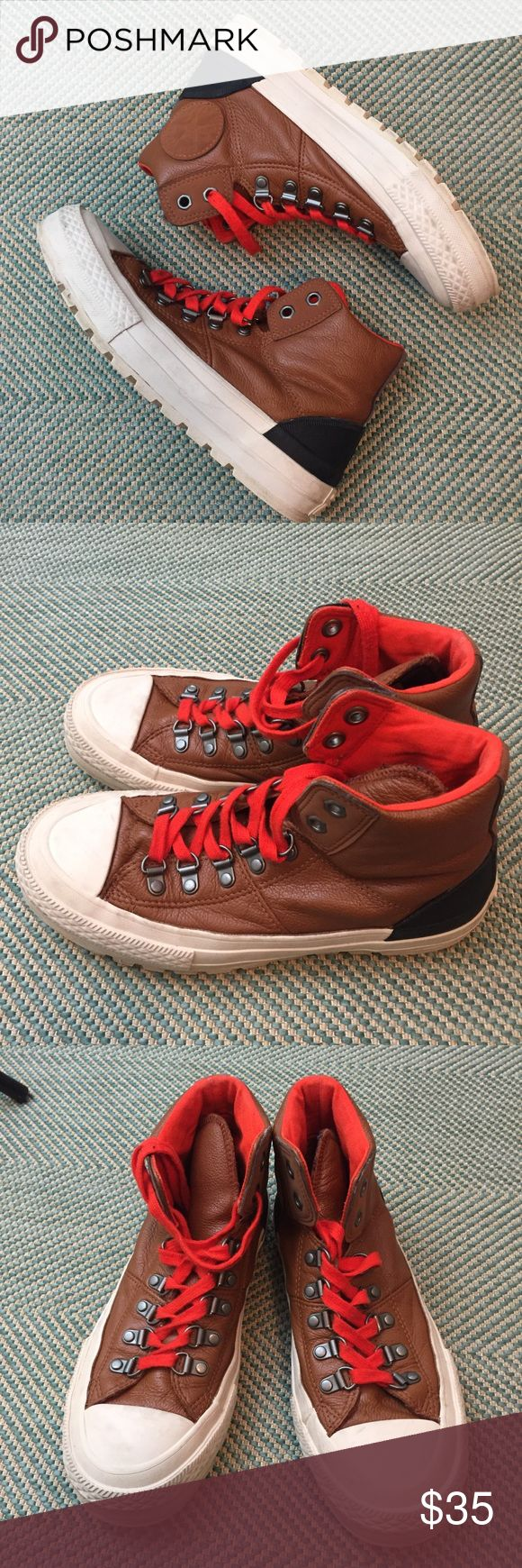 Converse Hiking Style High Top Leather Shoes 7.5 Brown leather Converse high tops with cream soles, black rubber heels, orange lining and orange laces. Women's 7.5. In good condition with minor signs of wear. Converse Shoes Sneakers