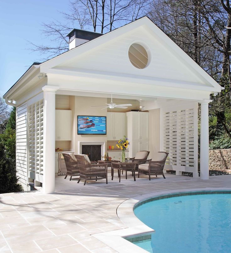 Buckhead pool and cabana with fireplace bahamian shutters for Outdoor cabana designs