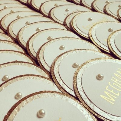 Gold & Ivory circular sorority name tags