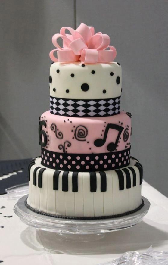 bolo musica menina Bolos decorados música