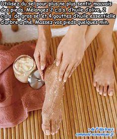 utiliser de l'huile d'olive, du sel et de l'huile essentielle d'arbre a thé pour ne plus sentir mauvais des pieds