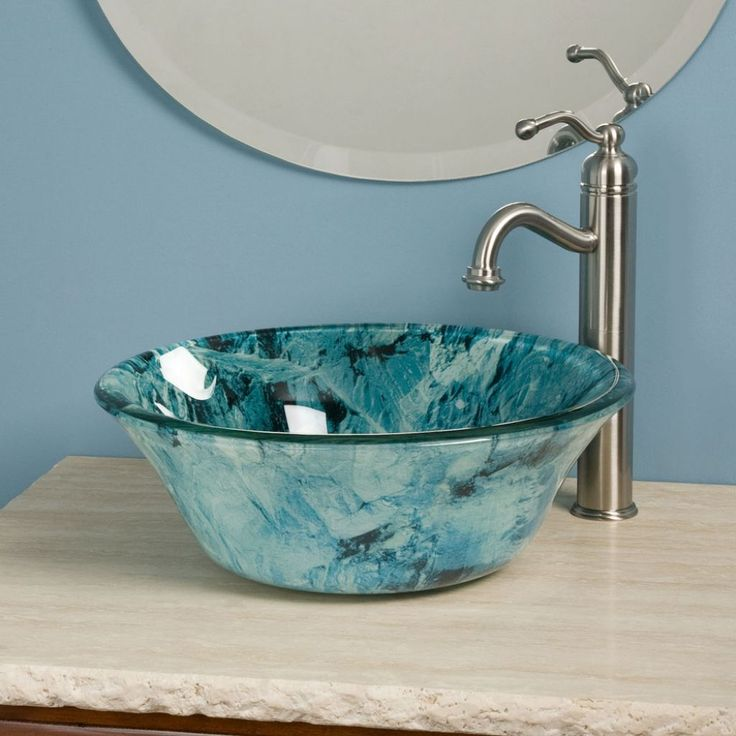 Bathroom , Glass Vessel Sinks for Adding Bathroom's Beauty : Beautiful Glass  Vessel Sink With Blue Pattern