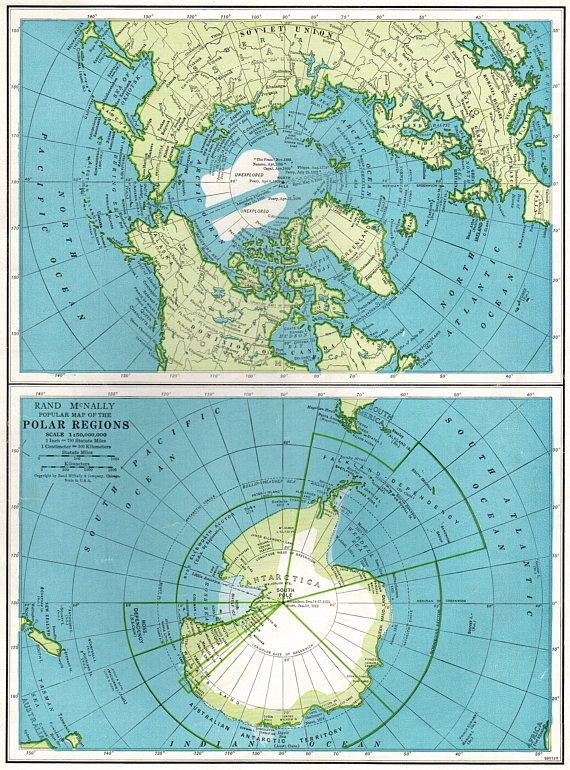 South Pole World Map.1947 Vintage Polar Regions Map North Pole Map South Pole Map Travel