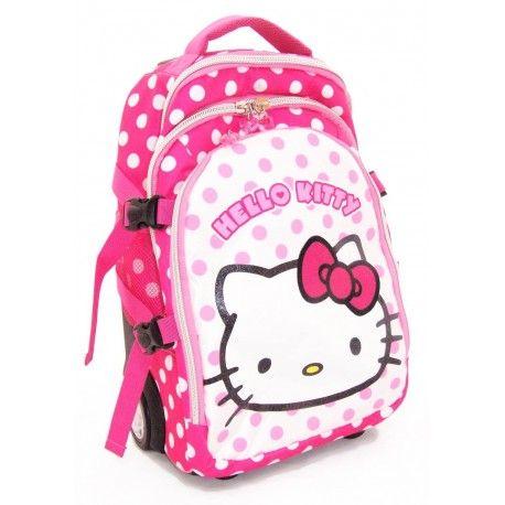 Mochila Trolley Hello Kitty Travel Dots. Mochila infantil rosa de tamaño mediano (46,5 x 31 x 21 cm) de #HelloKitty, perfecto para que tu hija vaya acompañada de su gatita favorita.