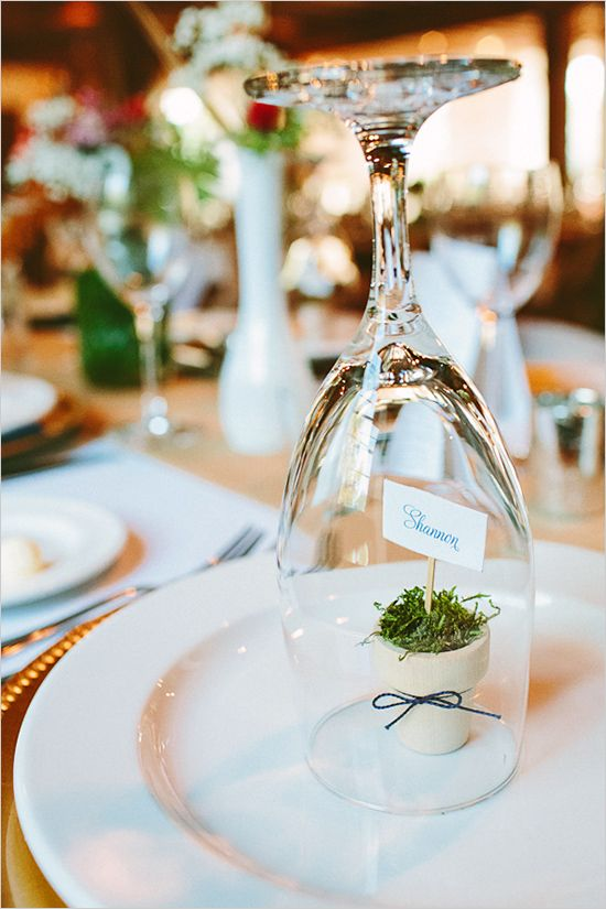 place card ideas: Lc: excellent for outdoor wedding/party -- keeps small favors from blowing away and keeps glasses clean till service