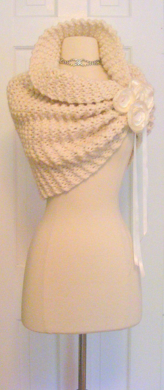 Wedding Shawl / Bride Bolero /Shrug / Ivory Shawl with flowers / Custom Hand Knit. $110.00, via Etsy.