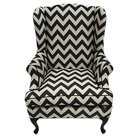 Chevron wingback chair with foam cushioning and a wood frame.   Product: ChairConstruction Material: Wood, foam and ...