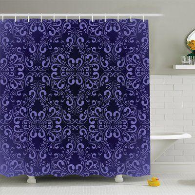 """Ambesonne Floral Timeless Renaissance Romantic Royal Victorian Shower Curtain Set Size: 84"""" H x 69"""" W x 1"""" D"""