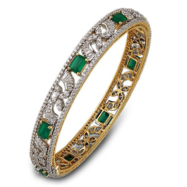 Shobha Asar - emerald and diamond bangle