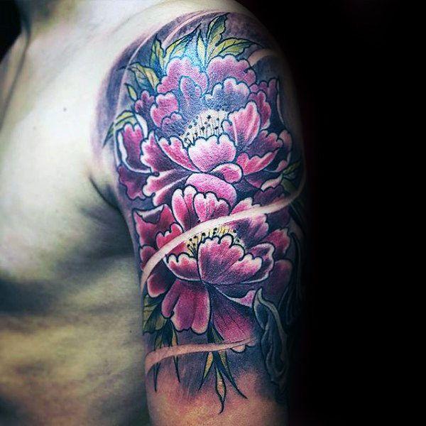 100 Peony Tattoo Designs For Men Flower Ink Ideas Half Sleeve